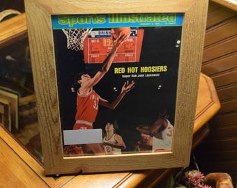 FREE SHIPPING Vintage 1975 Indiana University Sports Illustrated magazine custom framed cedar Hoosiers Man Cave