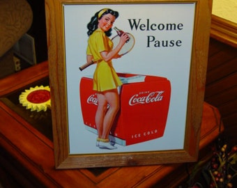 FREE SHIPPING Coca Cola custom framed solid cedar wood 15X18 man cave metal Tennis sign oak finish country rustic wall hanging display