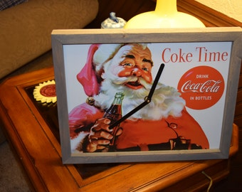 FREE SHIPPING Coca Cola Christmas Santa clock metal sign custom framed solid rustic wood barn gray finish