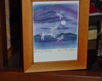 FREE SHIPPING Dragonfly signed custom framed print solid rustic cedar oak finish Arrival of Evening