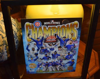 FREE SHIPPING Chicago Cubs custom 12X15 framed 2016 World Series Champions MLB Licensed Numbered Photo