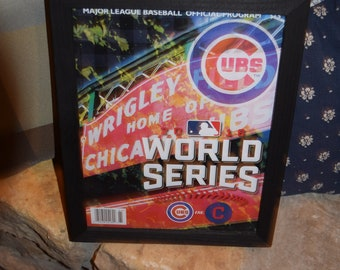 FREE SHIPPING Chicago Cubs custom framed complete 2016 MLB Official World Series Program Solid Rustic Cedar Wrigley Field Edition