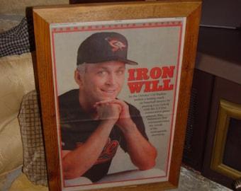 FREE SHIPPING Rare Baltimore Orioles custom framed solid cedar original 1995 Commemorative newspaper Cal Ripken oak finish