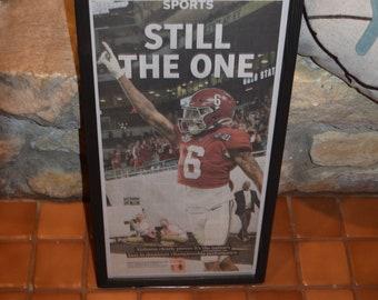 FREE SHIPPING University of Alabama framed original newspaper 2020 NCAA Football Champions solid rustic wood dark finish Still the One