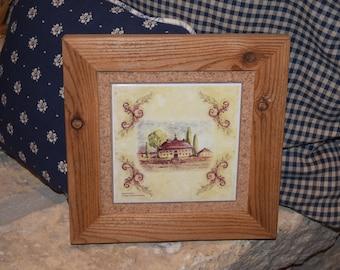 FREE SHIPPING custom framed solid cedar Ceramic Tuscany Tile oak finish country rustic wall display