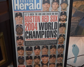 FREE SHIPPING Rare 2004 Boston Red Sox original complete framed newspaper World Series Champions  Team cover