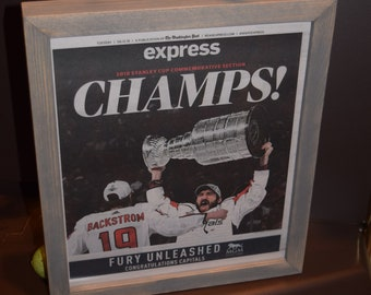 Washington Capitals 2018 Stanley Cup Champions Custom framed original complete Post Express Commemorative Section newspaper