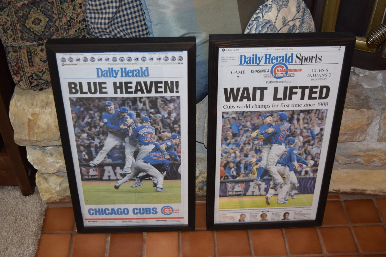 e3808cf52f8 FREE SHIPPING 2 Chicago Cubs 2016 framed original newspapers World Series  Champions dark finish