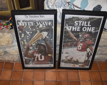 FREE SHIPPING University of Alabama framed original newspaper 2 set 2020 NCAA Football Champions solid rustic wood dark finish man cave