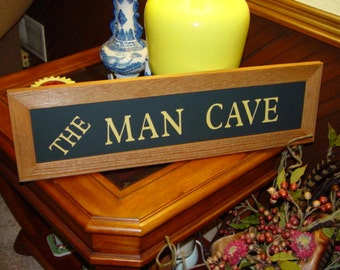 FREE SHIPPING Large custom lettered solid cedar wood framed the man cave sign oak finish country rustic panoramic banner display