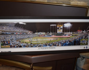 FREE SHIPPING 2015 World Series Kansas City Royals panoramic framed print solid wood dark finish rustic display Flag Ceremony