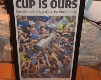 FREE SHIPPING St Louis Blues 2019 Stanley Cup Champions Custom framed original complete newspaper Final Parade Edition