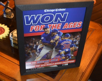 FREE SHIPPING Chicago Cubs custom framed complete Chicago Tribune Solid Rustic Dark Cedar World Series Champions Tribute Magazine