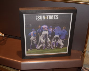 FREE SHIPPING Chicago Cubs framed solid dark cedar original complete 2016 Sun Times Newspaper World Series Champs