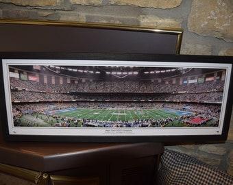 FREE SHIPPING New England Patriots Super Bowl XXXVI Champions panoramic framed print solid wood dark finish 1st Super Bowl Win