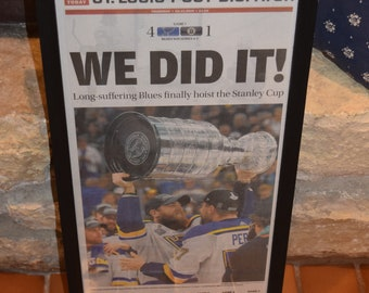 FREE SHIPPING St Louis Blues 2019 Stanley Cup Champions Custom framed original complete newspaper