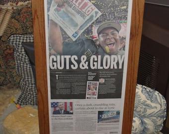 FREE SHIPPING Alabama Birmingham News framed newspaper 2015 Champions solid rustic cedar original Guts and Glory