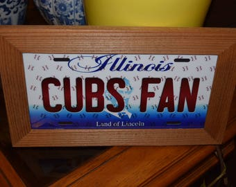 FREE SHIPPING Chicago Cubs  Fan State License Plate Sign Framed cedar 6x12 metal included display sign