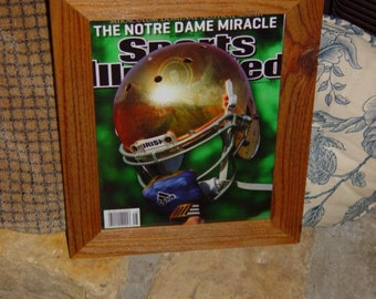 FREE SHIPPING Notre Dame custom framed solid cedar original 2012 Sports Illustrated magazine oak finish country rustic wall hanging display