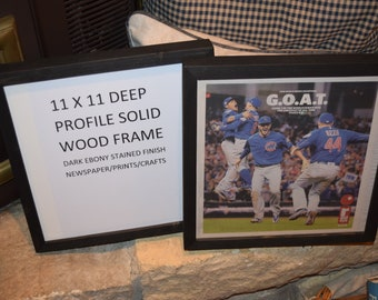FREE SHIPPING Rare solid wood 11X11 deep profile size picture photo craft scrapbook newspaper frame dark finish country rustic display