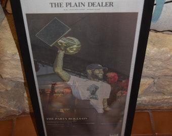 FREE SHIPPING Cleveland Cavaliers 2016 NBA Champions Custom framed newspaper rustic solid cedar The Plain Dealer
