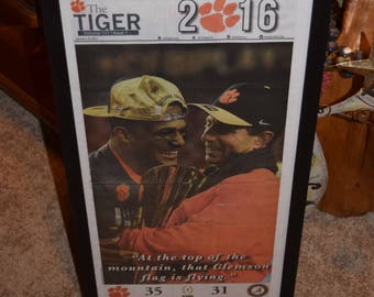 FREE SHIPPING Clemson University Rare framed original The Tiger newspaper solid wood 2016 NCAA Football Champions
