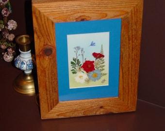 FREE SHIPPING Dried Flower custom framed solid cedar arrangement oak finish country rustic display blue mat