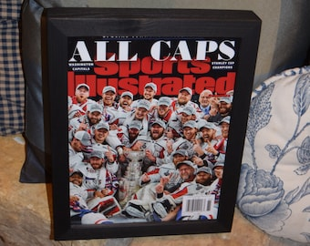 Washington Capitals Special Sports Illustrated complete magazine custom framed solid cedar Stanley Cup Champions