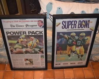FREE SHIPPING 2 Rare 1997 Green Bay Packers Custom framed solid cedar original newspapers Super Bowl XXXI champions Brett Favre