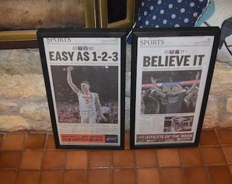 FREE SHIPPING 2 University of Virginia framed original Final Four newspapers 2019 NCAA Basketball Champions dark finish