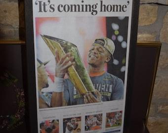 FREE SHIPPING Clemson University rare framed original complete newspaper solid cedar 2016 NCAA Football Champions