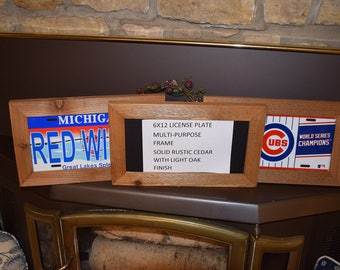 FREE SHIPPING 6x12 Wood license plate multi purpose frame solid rustic cedar picture photo craft oak finish country rustic display