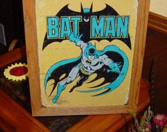 FREE SHIPPING Bat Man Retro Comic custom framed solid cedar wood 15X18 weathered metal sign oak finish country rustic wall hanging display