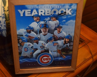 FREE SHIPPING Chicago Cubs 2016 World Series Champions custom framed complete 2016 Team Yearbook Solid Rustic Cedar