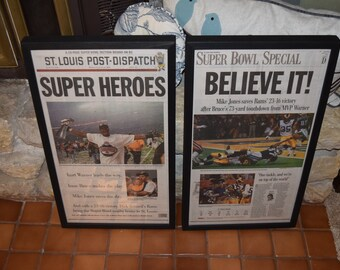 FREE SHIPPING Rare 2 Set St Louis Rams 1999 Super Bowl Champions Custom framed original complete newspapers Post Dispatch