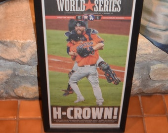 FREE SHIPPING Houston Astros 2017 World Series Champions Custom framed newspaper complete original Houston Chronicle  H Crown