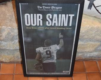 FREE SHIPPING New Orleans Saints Drew Brees custom framed solid rustic cedar original Newspaper Retirement