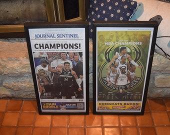 FREE SHIPPING 2 Set Milwaukee Bucks 2021 NBA Champions Custom framed original newspaper deep profile frame Journal Sentinel