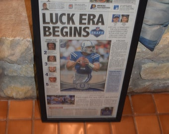 FREE SHIPPING Andrew Luck collectible Indianapolis Colts framed 2012 newspaper original Draft Day