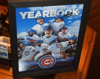 FREE SHIPPING Chicago Cubs 2016 World Series Champions custom framed complete 2016 Team Yearbook Solid Rustic Cedar Dark Finish
