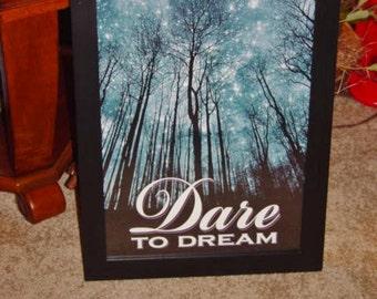 FREE SHIPPING Motivational framed print poster solid rustic cedar oak finish DREAM classroom display wall hanging