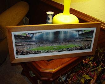 FREE SHIPPING Super Bowl XXXVIII New England Patriots custom framed solid cedar panoramic frame oak finish rustic display