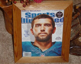 FREE SHIPPING Indianapolis Colts Andrew Luck custom framed solid cedar original 2014 Sports Illustrated complete magazine