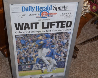 FREE SHIPPING Chicago Cubs 2016 World Series Champions Custom framed newspaper complete paper mounted  Weathered