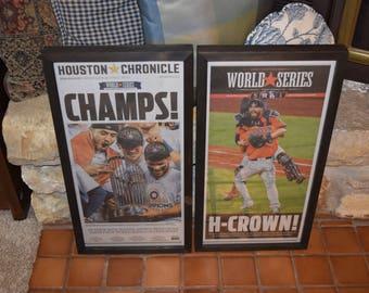 FREE SHIPPING Houston Astros 2017 World Series Champions Custom 2 set framed newspapers original Houston Chronicle mounted Dark Finish