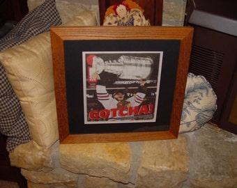 FREE SHIPPING Chicago Blackhawks 2013 Stanley Cup custom framed solid cedar NHL Champions original newspaper oak finish