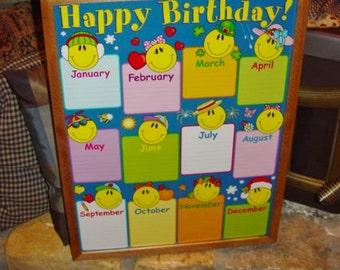FREE SHIPPING Classroom Happy Birthday Name Chart custom framed print solid rustic cedar oak finish Happy Face reusable display deep profile