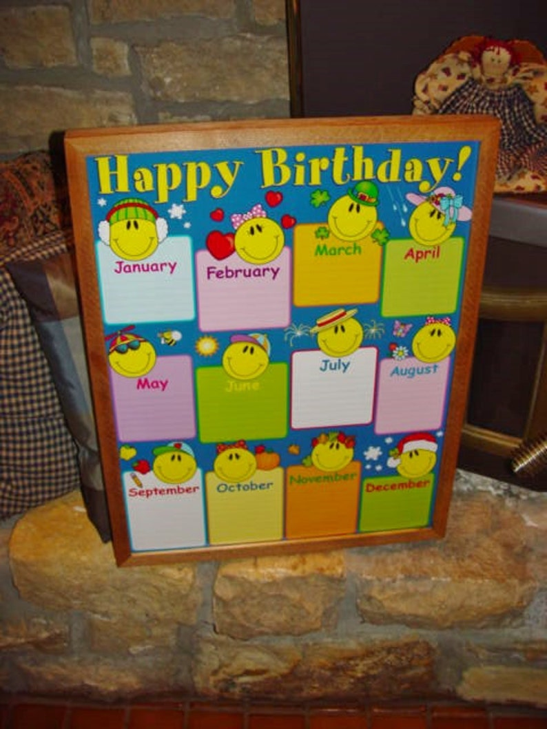FREE SHIPPING Classroom Happy Birthday Name Chart Custom Framed Print Solid Rust