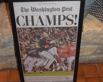 FREE SHIPPING Washington Nationals 2019 World Series Champions Custom framed original complete  Special Edition Washington Post newspaper