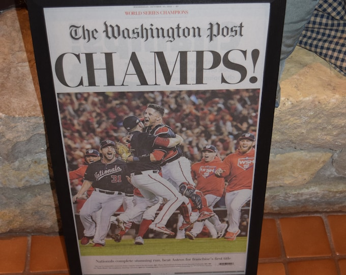 Featured listing image: FREE SHIPPING Washington Nationals 2019 World Series Champions Custom framed original complete  Special Edition Washington Post newspaper